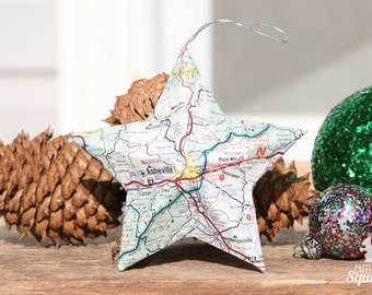Asheville, North Carolina - Vintage Map Covered Star Ornament - NC, Home Decor, East Coast, Christmas, Tree, Map Ornament