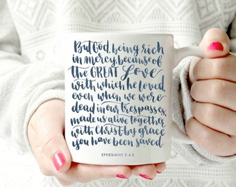 Ephesians 2. christian mug. spiritual. bible verse. mug motivational- Ceramic Mug. navy mug. script font. watercolor effect