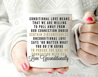 Love unconditionally. coffee lovers mug.fancy lettering. calligraphy. Ceramic Mug.11oz