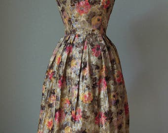 1950s Suzy Perette Brocade Lame' Roses Party Dress / Fit and Flare Full Pleated Skirt / Small
