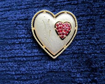 Vintage J.J. Heart Shaped Brooch/Pin Gold Plate with Red Rhinestones