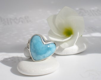 Larimar heart ring size 6.25 by Larimarandsilver, Good Morning my Love - sky blue Larimar heart, blue heart ring, handcrafted Larimar ring