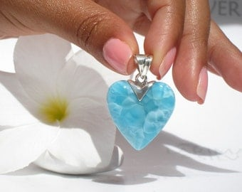 Larimar heart pendant by Larimarandsilver, Romance Undersea - aquamarine Larimar heart, turtleback, sea blue heart, handmade Larimar pendant