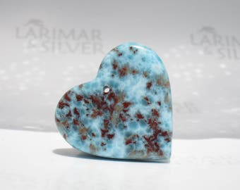 Larimar bead from Larimarandsilver, Love Coral 1 - aqua red Larimar heart, marbled heart, red sea heart, focal heart, handmade Larimar bead