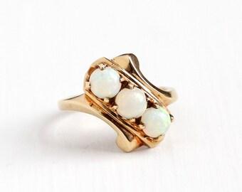 Sale - Vintage 10k Rosy Yellow Gold Triple Opal Ring - Size 3.5 1940s 1950s Mid Century Trilogy Three Gemstone Fine Asymmetrical Jewelry