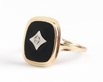 Vintage 10k Rosy Yellow Gold Black Onyx & Diamond Ring - 1940s BDA Size 8 1/2 Rectangular Dark Gemstone Statement Fine Jewelry