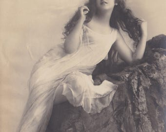 Long-Haired Ethereal Beauty 1, Vintage German Postcard by Rotophot, circa Early 1910s