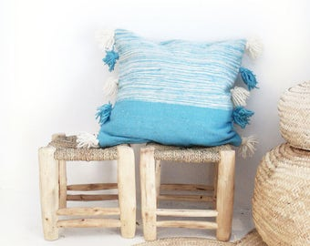 Moroccan POM POM pillow cover - wool natural undyed with blue stripes