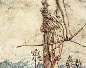 Huntress Dian,  Arthur Rackham, Vinatge Art Print