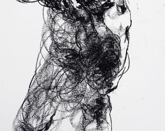 """Abstract and Expressive Figure Drawing - Figure 18 - 9 x 12"""" charcoal on paper - original drawing by Derek Overfield"""