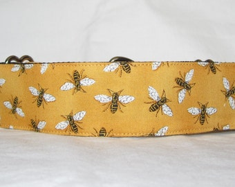 Bee Martingale Dog Collar - 1.5 Inch - yellow gold bumble bee insect bug honeymoon