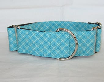 Pure Blue Martingale Dog Collar - 1.5 or 2 Inch - plaid hatch diagonal stripes handsome bright
