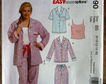 Easy to Sew Misses Pajamas: Tops, Camisole and Pants Sizes 8 10 12 14 16 McCalls Pattern M5990 UNCUT