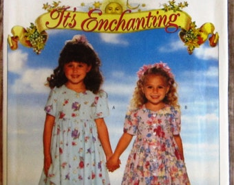 Easy to Sew Little Girls Dress and Pantaloons Sizes 2 3 4 Butterick Pattern 4410 UNCUT Vintage 1990s