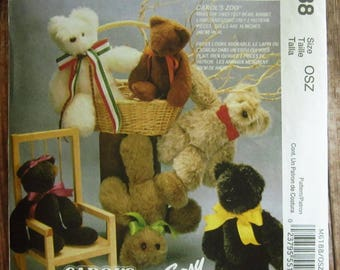 Easy to Sew Carols Zoo: Stuffed Bear, Stuffed Rabbit and Stuffed Lamb McCalls Crafts Pattern M6188 or 6907 UNCUT