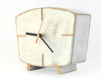 White Desk clock, Handmade Wood Clock, Vintage Style 60s Table clock, Home decor Wooden gift, Spring decor for home, for Mom