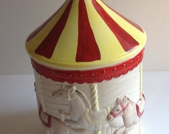 Vintage Carousel Cookie Jar, Made in Japan, 1960s, Circus, Big Top, Circus Party
