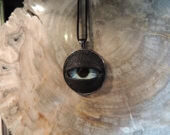 X-Large Dragon eye Necklace(Blue eye in gunmetal silver bezel)