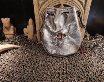 Dragon eye dice bag (Metallic Silver leather with Red Eye)----New Style-----