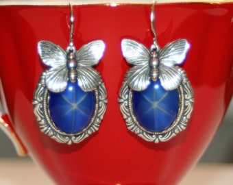Vintage blue satin star sapphire glass butterfly charm Victorian pin up earrings