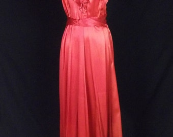 vintage orange satin evening gown  sleeveless built in belt ruffled v neck and hem 40s look bombshell dress