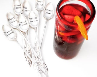 Drunken Fruit  SANGRIA SPOONS. Intoxicated Fruit. Hand Stamped Tall Iced Teaspoons. Original Design by Sycamore Hill. Made to Order. CUSTOM