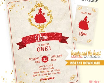 Beauty and the Beast INSTANT DOWNLOAD Editable Invitation / Beauty and the Beast Invitation  / EDITABLE Princess Belle Invitation