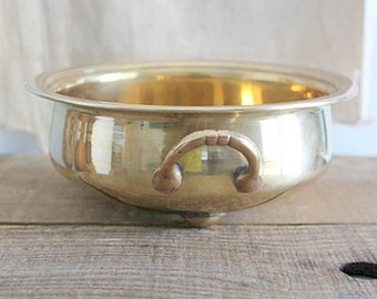 Vintage Footed Brass Planter Bowl