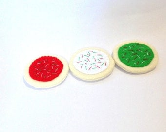 Felt food holiday christmas cookie set eco friendly children's pretend play food for toy kitchen felt cookies toy cookies felt sugar cookies
