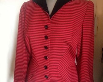 1940 jacket red black optical stripe wool velvet collar
