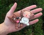 Little Lazies: Leia + Chewrocka BUNDLE / Handmade / Polymer Clay / Thank You!