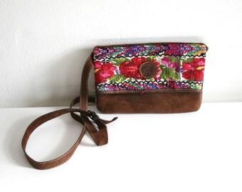 Guatemalan Textile Leather Purse