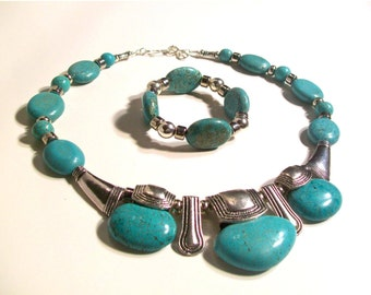 Green Turquoise Jewelry, Triple Pendant Necklace, 3 Piece Set, One of a Kind, Statement Necklace
