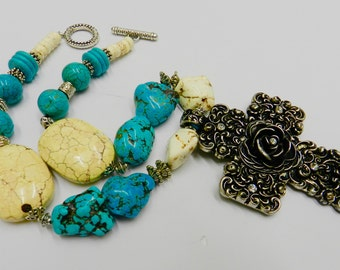 Chunky Turquoise Magnesite Necklace  0rnate Metal Rose Cross Pendant Necklace