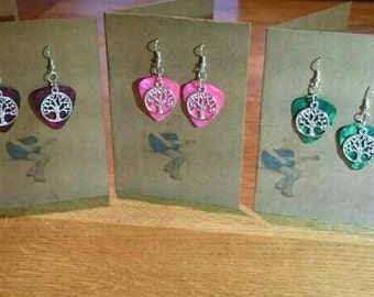 Guitar pic and tree of life charm drop earrings