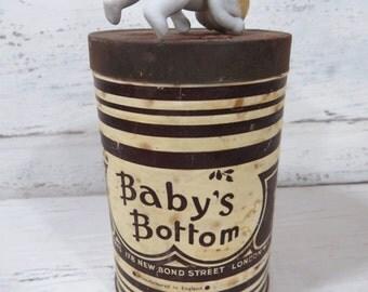 RARE Vintage Baby's Bottom Tobacco Tin, Savoy's, London, 1930s, Empty, 4 oz., OK Tax Stamps