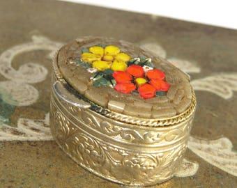 Vintage Micro Mosaic Floral Design Gold Tone Pill Box, Medicine Box, Tooth Fairy Box Italy