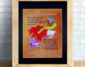 Ghoulies and Ghosties Fine Art Print, Scottish Prayer, Things That Go Bump in the Night