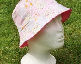 Reversible Children's Sun Hat - Pink & Patchwork