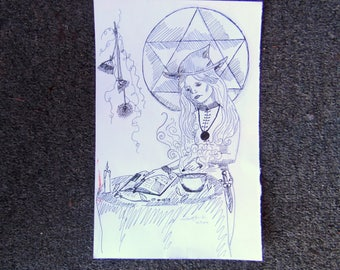 Witch Ritual Original Pencil and Ink Drawing Hand Drawn Artwork 10.25 x 6.75