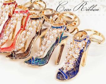 Rhinestone Pearl High Heel Fashion Shoe Bag Gold Alloy Key Chain Key Ring Keychain