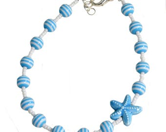 Starfish Ankle Bracelet - Blue and White - Ankle Bracelet - 9.75 to 10.5 Inches
