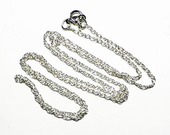 Silver Chain Rope Necklace, 18 Inch Sterling Chain, Silver Chain Rope 18 '', Solid Silver Necklace Chain, Simple Silver Chain Necklace