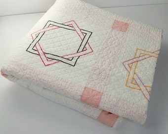 Vintage Quilt 8 Point Star Embroidery Quilt Vintage Hand Quilted Star Quilt Pretty Pink Sashing Vintage Blanket Bed Quilt Vintage Textiles