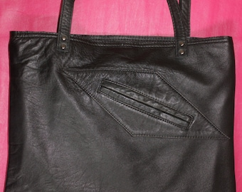 Black leather tote bag, Upcycled leather