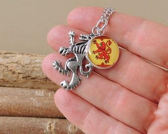 Scottish Lion Necklace, Scotland Charm Necklace, Scotland Jewellery, Red Lion Necklace, Charm Jewellery, Lion Jewellery, Red Yellow, UK 2237