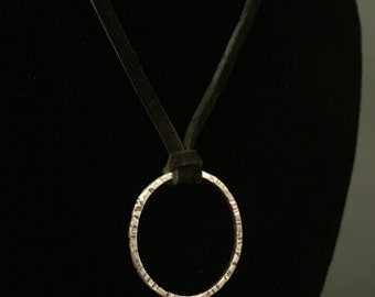 Sterling Silver Aspen Bark Cirlcle Of Life Necklace - part of the Aspen Collection