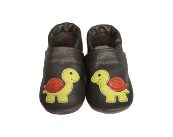 Leather Baby Booties, Baby Shoes, Turtle Infant Newborn Nursery Children Green Brown