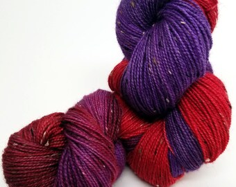 Figs & Cranberries, Red Purple, ColorPurl Finnegan Hand Dyed Yarn, BFL Bluefaced Leicester Donegal Tweed, Sock Weight, 438 Yards