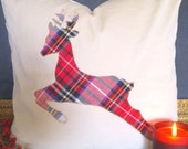 Luxe Holiday Plaid Reindeer pillow cover